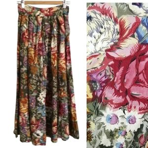 VINTAGE Fall Floral Multicolored Cottagecore Pleats Flowy Maxi Size Small